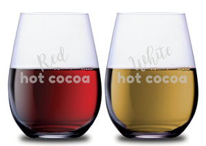 Red Hot Cocoa & White Hot Cocoa Funny Stemless Couples WineGlass Set of 2 [Only for Elves and Santa's Helpers...]