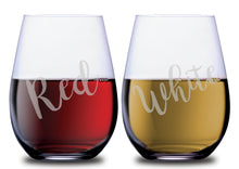 Red or White Stemless Couples WineGlass Set of 2 [Because why not be fun about it?!]