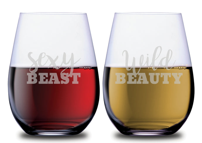 Sexy Beast & Wild Beauty Funny Stemless Couples WineGlass Set of 2 [Bringing out even the wildest of creatures!]