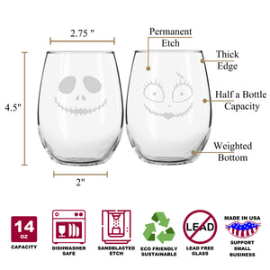 Spooky Skeleton & Stitched Doll Stemless Couples WineGlass Set of 2 [Puts The Spirit In Your Pumpkin!]