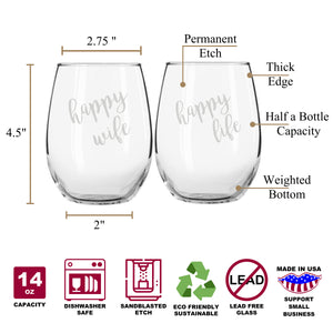 Happy Wife Happy Life Funny Stemless Couples WineGlass Set of 2 [Hilarious at dinner parties!]