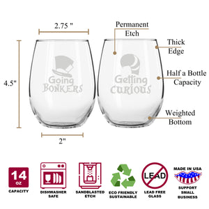 Alice's Bonkers & Curious Wonderland Stemless Couples WineGlass Set of 2 [We're Going MAD For These!]