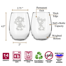 Zombie Guy & Girl Spooky Stemless Couples WineGlass Set of 2 [Zombie Apocalypse Ready!]