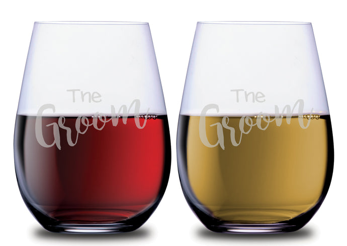 The Groom & The Groom Elegant Wedding Stemless Couples WineGlass Set of 2 [Let's toast to a beautiful couple!]