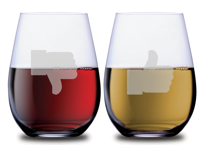 Thumbs Up & Thumbs Down Funny Stemless Couples WineGlass Set of 2 [When you can't decide...choose both!]