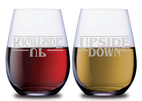 Stranger things Upside down rightside up typed stemless SMOOCHIES couples wine glasses filled with red and white wine | SMOOCHIES