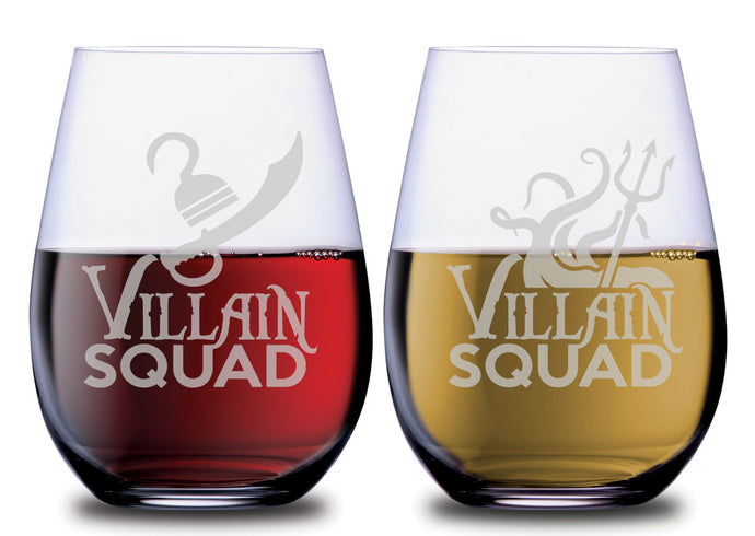 Villain Squad Ursula & Captain Hook Stemless Couples WineGlass Set of 2