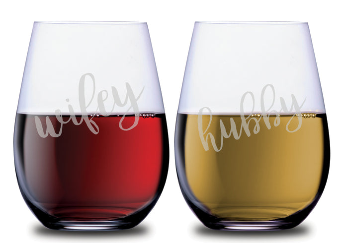 Wifey & Hubby Classy Etched Glass Stemless Couples WineGlass Set of 2 [Perfect for celebrating every day together!]