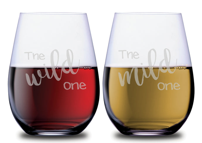 The Wild One & The Mild One Funny Stemless Couples WineGlass Set of 2 [When opposites attract, celebrate with wine!]