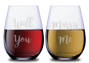 Will You Marry Me Elegant Wedding Proposal Stemless Couples WineGlass Set of 2 [Can't think of a more UNIQUE way to propose!!]