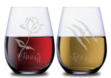 Beauty and Beast Themed Rose and Scratch Stemless Couples WineGlass Set of 2 Glasses