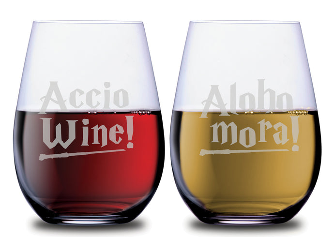 Magical Spell Accio and Aloho Mora Stemless Couples WineGlass Set of 2 Glasses