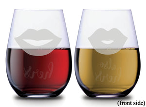 Two sets of lips with hers and also hers on the back of each SMOOCHIES stemless wine glass filled with red and white wine lips facing front | SMOOCHIES