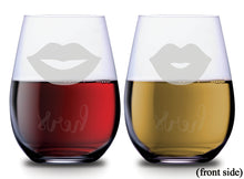 Two sets of lips with hers and hers on the back of each SMOOCHIES stemless wine glass filled with red and white wine lips facing front | SMOOCHIES