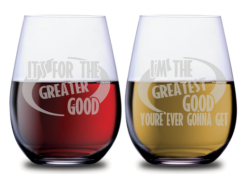 Incredible Theme Greatest Good Funny Stemless Couples WineGlass Set of 2 Glasses