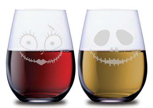 Jack and Sally faces on stemless SMOOCHIES wine glasses from nightmare before christmas filled with red and white wine | SMOOCHIES