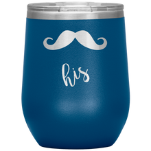 His Mustache Curved Ends Wine Tumbler with Lid [Yes, mustaches are sexy! Rawr!]