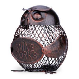 Adorable Owl Wine Cork Holder Iron Metal Decor at Smoochies4wine.com
