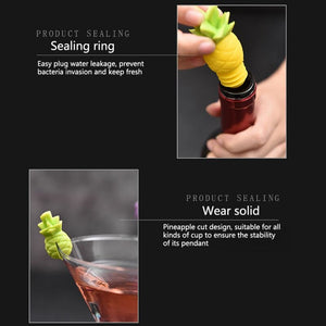 Pineapple Wine Bottle Stopper and Silicone Charms Reusable Set [Let's Get Fruity!]
