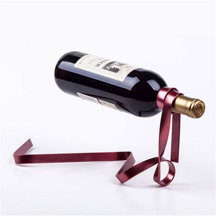 Elegant Ribbon Wine Bottle Holder Rack [Really Gets Your Dinner Guests Twirling!]