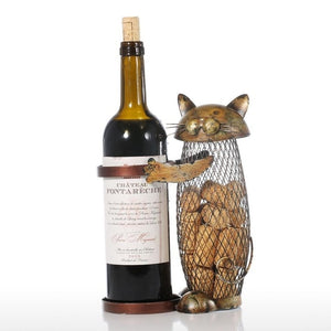 Standing Cat Wine Cork & Bottle Holder Metal Rack