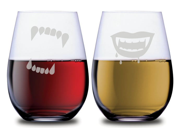 Stemless wine glasses pair of 2 with etched with Werewolf and Vampire teeth filled with white wine and red wine.