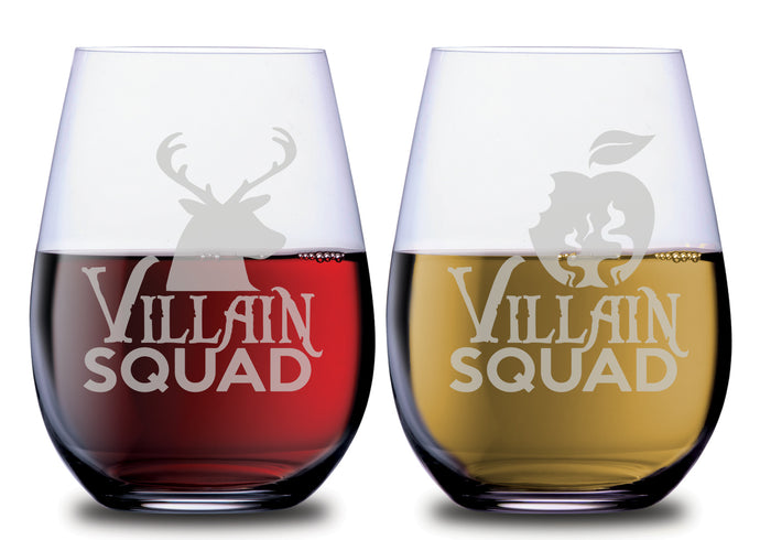 Villain Squad Evil Queen & The Huntsman Stemless Couples WineGlass Set of 2