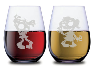Fun Zombie male and zombie female stemless wine glass set etched with red wine and white wine