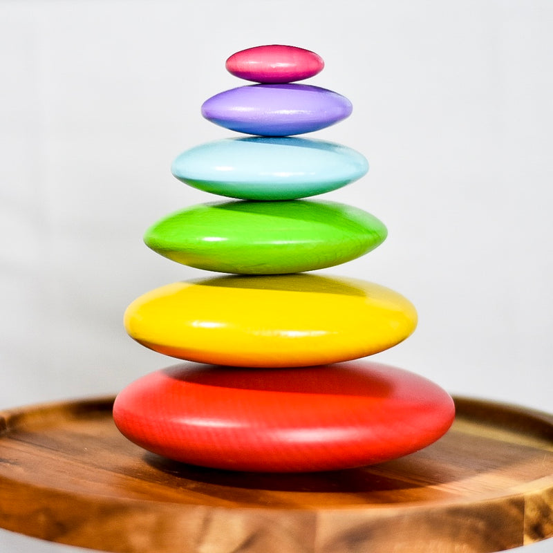 Rainbow stacking pebbles
