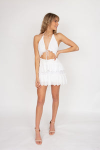 Issy Pearl Dress in White Eyelet