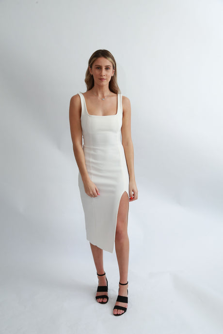 Bec & Bridge Hibiscus Islands Midi Dress (White)
