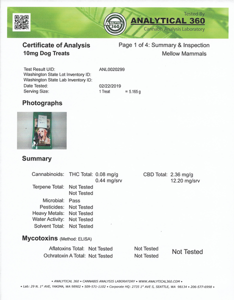 Certificate of Analysis for 10mg CBD Dog Treats - Page 1