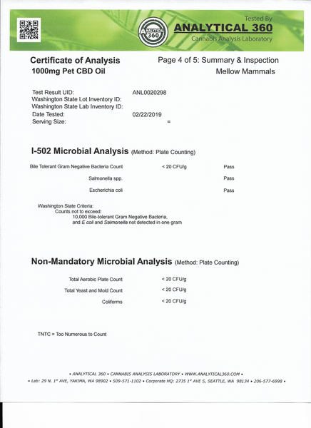 Certificate of analysis for 1000mg CBD oil for large breed dogs - Page 4