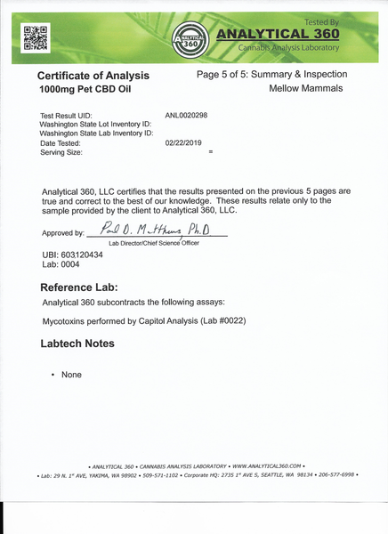 Certificate of analysis for 1000mg CBD oil for large breed dogs - Page 5