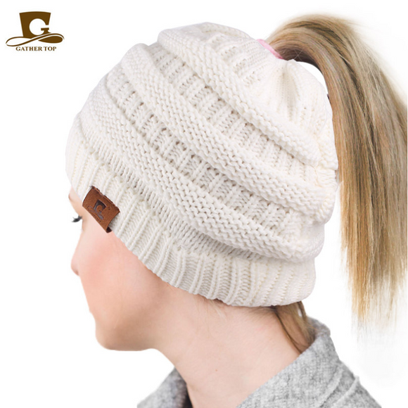 50% OFF, Handmade Soft Stretch Cable Knit Messy High Bun Ponytail Hat Winter Women Beanie hat