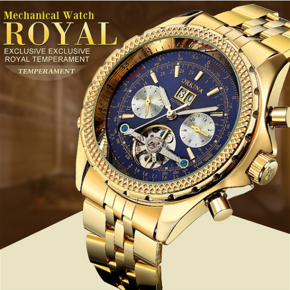 ORKINA Mens Golden Automatic Mechanical Wrist Watch Day Date Month Relojes