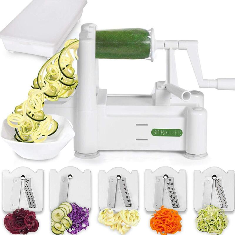 Vegetable & Fruit Slicer 5-Blade, Spiral Slicer, Vegetarian Noodles and Fruit Salad, Comes with Container & 4 Recipe E-books | 50% OFF TODAY