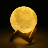 Rechargeable 3D Print Moon Lamp 2 Color Change Touch Switch Bedroom Night Light