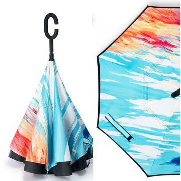 Vorical Painting Reverse Umbrella Windproof Double Layer Creative Cars Long C-Handle Rain Inverted Umbrella