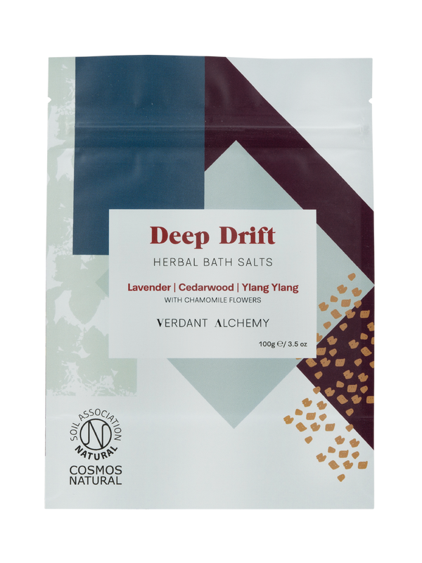 Verdant Alchemy Deep Drift herbal bath salts made with lavender, ylang ylang and dried chamomile flowers