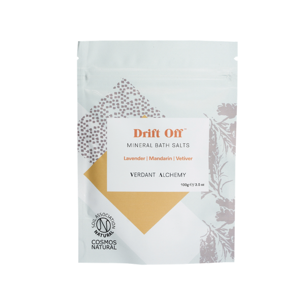 Verdant Alchemy Drift Off Mineral bath salts made with magnesium, lavender and vetiver to help you sleep