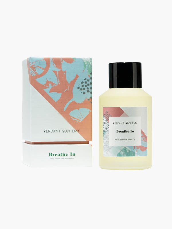 Verdant Alchemy Breathe In luxury natural bath oil made with eucalyptus and lemon essential oils to help relax mind and body and clear airways.
