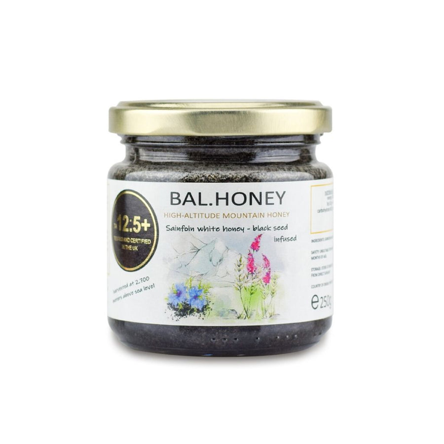 SAINFOIN ACTIVE 12.5+ WHITE HONEY – BLACK SEED INFUSED 250G
