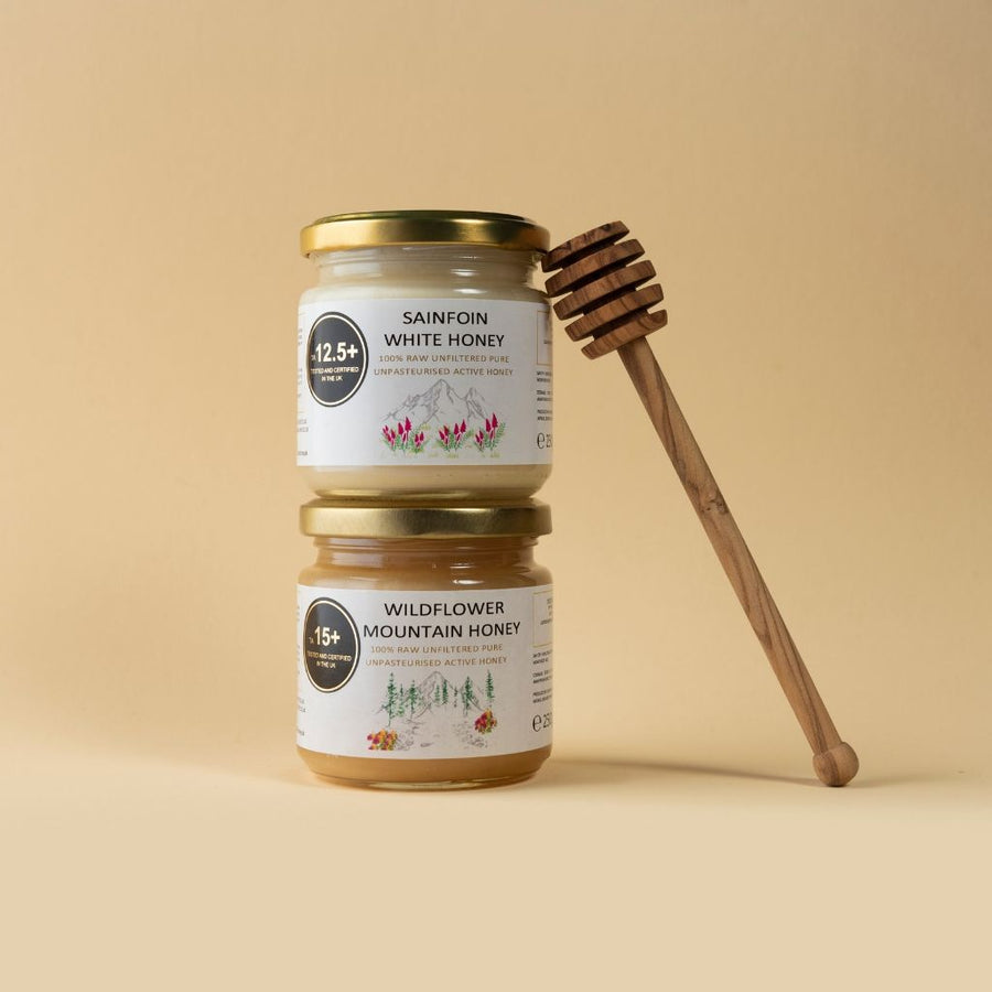 Duo (250g each) - Sainfoin White Honey + Wildflower Mountain Honey