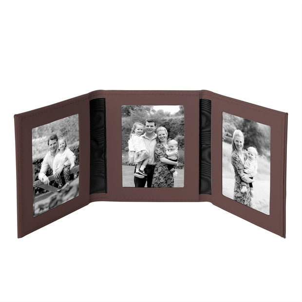 Chocolate Tuscan Leather Travel Triple Photo Frame