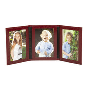 Burgundy Moroccan Leather Travel Triple Photo Frame