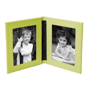 Lime Green Tuscan Leather Travel Double Photo Frame