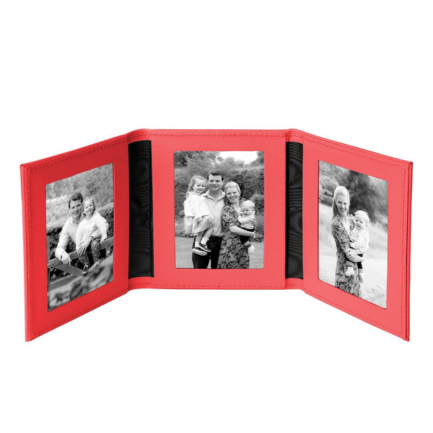 Red Tuscan Leather Travel Triple Photo Frame