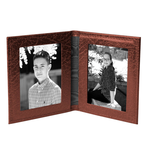 Tobacco Brown Moroccan Leather Travel Double Photo Frame