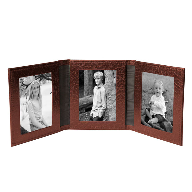 Tobacco Brown Moroccan Leather Travel Triple Photo Frame